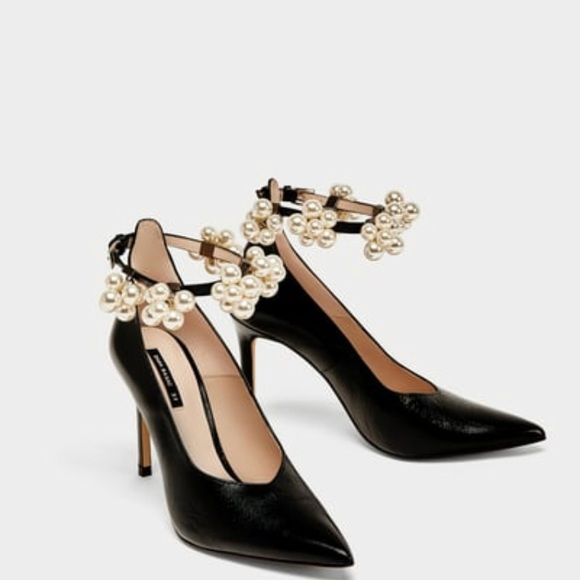 a6e473c1 Zara Shoes | High Heel Court With Beaded Ankle Strap | Poshmark